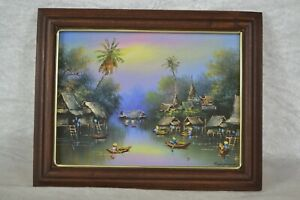 Vintage Small Oil on Canvas Painting Tropical Landscape Scene Framed and Signed