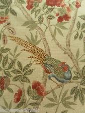 Sanderson Curtain Fabric ABBEVILLE 3.35m Russet/Sand Birds Floral -Fabienne Coll