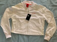 NWT Nike Women's Mesh-Trimmed White Cropped Bomber Jacket BQ6733-010 SMALL