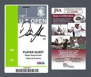 DUSTIN JOHNSON Signed Player Guest Badge 2016 US Open Oakmont, JSA COA Rare