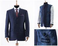 Mens CANALI Blazer Coat Jacket Wool Plaid Checked Blue Size 42 L 52