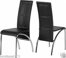 Black Faux Leather / Chrome Dining Chairs H98cm (Price for 2 Chairs) ANNIE