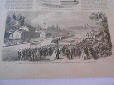 Gravure 1862 - Inauguration du Chemin de fer de Troyes à Bar sur seine