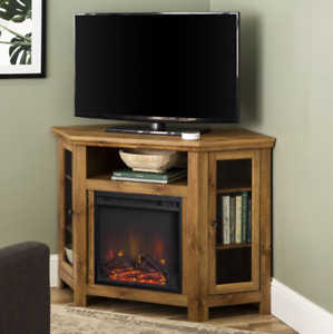 Walker Edison Barnwood Corner Fireplace TV Stand for TVs up to 55""