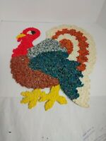 "Vintage 1970'S Thanksgiving Turkey Melted Plastic Popcorn Wall Hanging 20"" Tall"