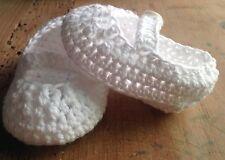 Patucos Blanco 0/3 Meses Zapato Hilo Algodón Ideal Niño O Niña Recién Nacido