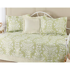 BEAUTIFUL 5PC WHITE SAGE GREEN LEAF FLORAL DAY BED TEXTURED DAYBED SET  NEW!!