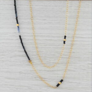 "New Nina Nguyen Sapphire Bead Necklace Sterling Gold Vermeil 38.5"" Adjustable"