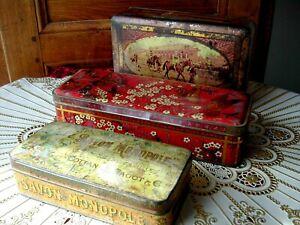 Lot 3 Boîtes en Fer d'Avant Guerre Rangement Art Déco Anciens Objets du XXème