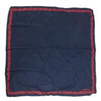 Auth CELINE Logos Blason Chain Design 100% Silk Pocket Handkerchief Scarf 3631b
