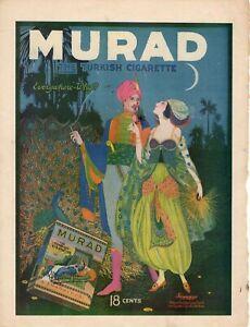 1918 Murad Original tobacco cigarette ad From Leslies - Very Rare