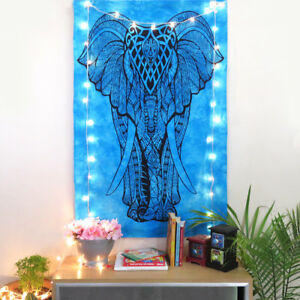 Indian Hippie Wall Poster Blue Tapestry Elephant Print Wall Hanging Art Posters