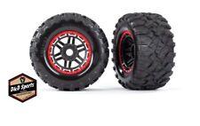 Traxxas 8972R Tire & Wheel Assembled Glued (Black, Red Beadlock Wheels) Maxx