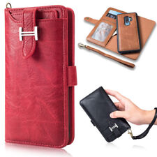 Magnetic Leather Removable Flip Wallet Card Slots Case Cover For Apple /SamSung