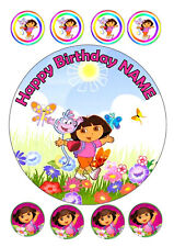 "DORA BIRTHDAY CAKE TOPPER ROUND EDIBLE ICED ICING FROSTING 7.5""+8 CUPCAKE"