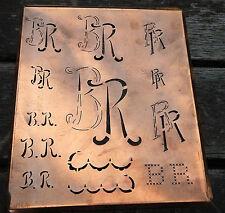 """Monogramm """" BR """" Wäschemonogramm Wäscheschablone Wäschezeichen 11/13 cm KUPFER"""