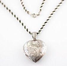 Vintage Lge Sterling Silver 925 Puffy Heart Locket Pendant on Rope Necklace 20g