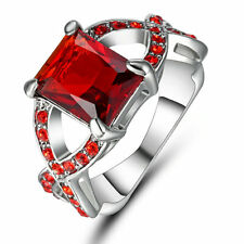 Jewelry CZ Ring Size 7 Red Ruby Crystal Lady's 10Kt White Gold Filled Wedding