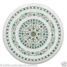 "12"" Marble Kitchen Coffee Table Top Malachite Inlay Floral Arts Halloween Gift"
