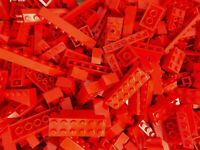 LEGO RED 1/4 lb Bulk Lot of Bricks Plates Specialty Parts Pieces Pounds