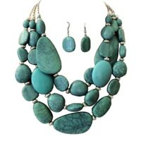 Statement Layered Strands Turquoise Stone-simulated Chunky Beads Necklace Set