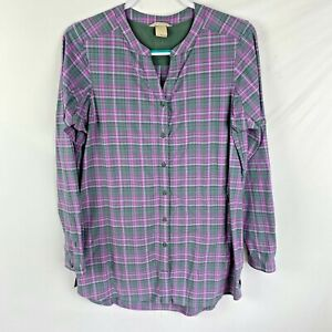 Duluth Trading Co. Women's Long Plaid Button front Shirt Size Small Gray/Pink
