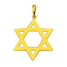 Solid 14K Yellow Gold Star of David Charm Jewish Symbol Pendant