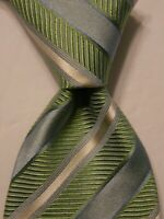 HUGO BOSS Men's 100% Silk Necktie ITALY Luxury STRIPED Green/Blue/White EUC