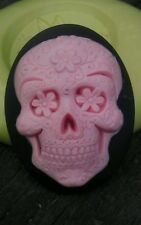 Goth Sugar Skull cameo silicone push mold mould sugar resin READ FULL LISTING