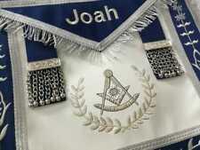 Masonic Blue Lodge Past Master Silver Machine/Hand Embroidery Freemasons Apron