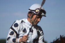 JOCKEY WEARING WHITE WITH BLACK POLKA DOTS 1977 35mm PHOTO SLIDE