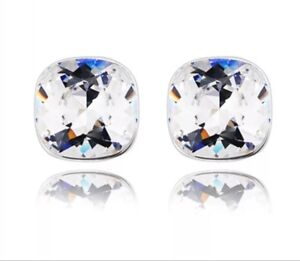 13mm Square Crystal Pierced Earrings - New in Gift Box - Eleven Colours