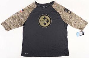 NWT Nike Women's Salute To Service Pittsburgh Steelers 3/4 Sleeve Shirt Camo XXL