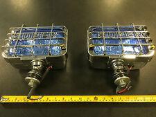 "8"" x 5"" SUPER Rectagular Chrome Spot Lights Spotlights 12v  Xenon Look Blue Lens"