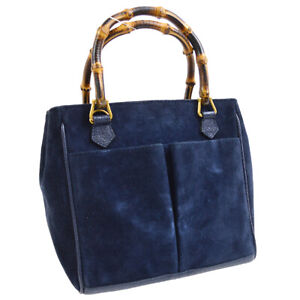 GUCCI Bamboo Line Hand Tote Bag Navy Suede Leather Italy Vintage M14390f