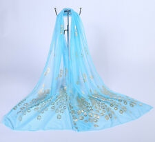 New Women Peacock pattern cotton yarn Long soft Wrap scarf Shawl Twelve colors