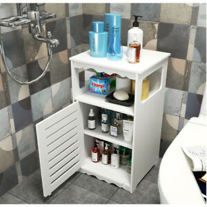 Waterproof Bathroom Cabinet Cupboard Free Standing Storage Unit White New