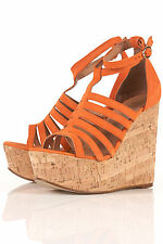 New lovely TOPSHOP WIZARD strappy wedge UK 9 in Orange