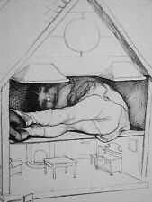 J.H. Dowd 1938 Sweet Little Girl HIDING in DOLL HOUSE Vintage Art Print Matted