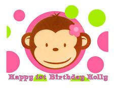 Pink Mod Monkey Girl's edible cake image cake topper birthday decoration