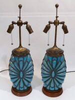 PAIR VINTAGE MURANO CAGED GLASS  ITALIAN REGENCY MID-CENTURY LAMP