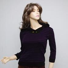 Nwt RALPH LAUREN Jeans Co Hoodie Sweater  Knit Top Purple/Black Stripe XS