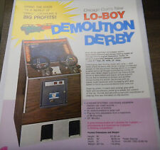 Vintage Lo-BOY Demolition Derby Arcade Game Advertising Sheet by Chicago Coin