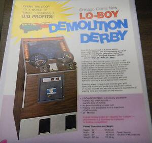 Vintage Lo-BOY Demolition Derby Arcade Game Advertising Sheet by Chicago Coin