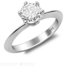 Round Cut Si1/D 18K gold Ring 1.02 Ct Enhanced Diamond Engagement Wedding Ring