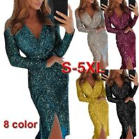 New Women Sexy Bodycon V Neck Midi Dress Sequins Evening Cocktail Party Dresses
