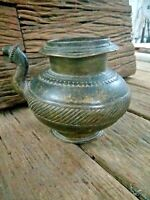 Old antique Solid Ethnic Brass Engraved Unique Ritual Holy Water Pot with spout