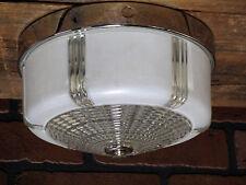 "Vintage Retro Mid-Century Flush Mount Kitchen Bath Chrome Ceiling Light 8 3/8"""