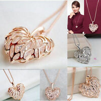 Women Gold Plated Heart Bib Statement Chain Pendant Necklace Fashion Jewelry