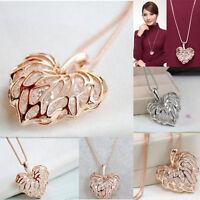 Women Gold Plated Heart Bib Statement Chain Pendant Necklace Fashion Jewelry